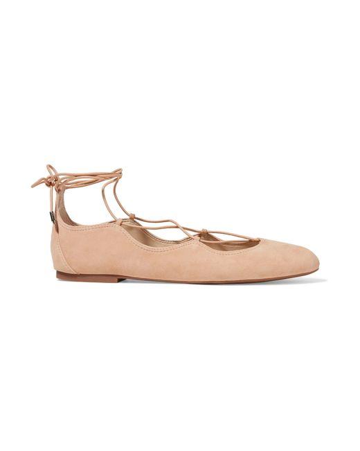 Sam Edelman | Natural Gretchen Lace-up Suede Ballet Flats | Lyst