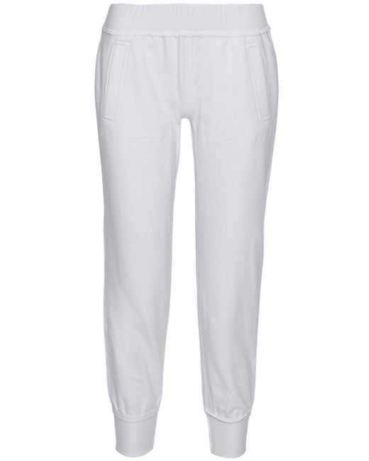 Norma Kamali - White Cropped Stretch Cotton-jersey Track Pants - Lyst