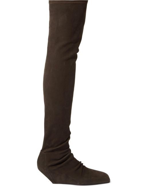 rick owens suede wedge thigh boots in brown lyst