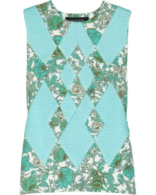 Thakoon | Multicolor Printed Scuba-jersey And Mesh Top | Lyst