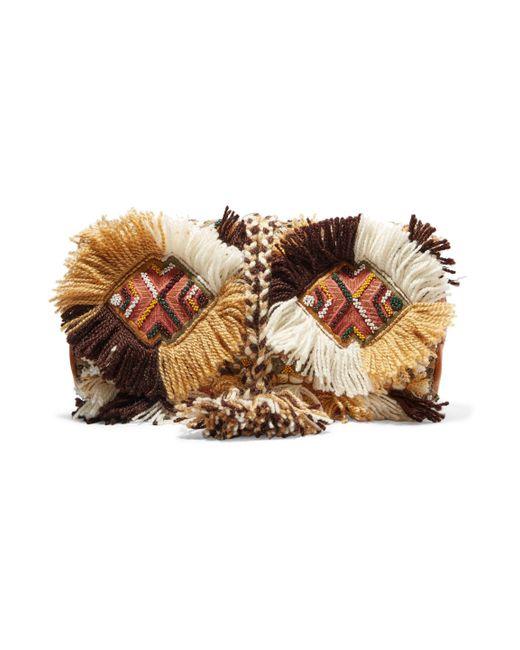 Antik Batik - Brown Leather-trimmed Embellished Cotton-canvas Clutch - Lyst