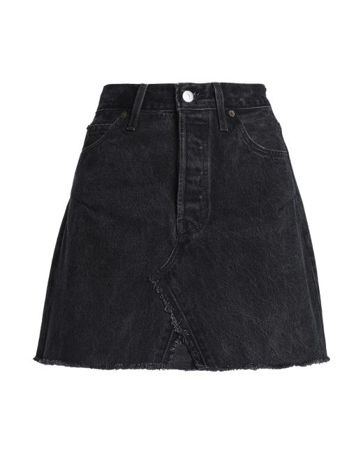 Levi's - Woman Frayed Denim Mini Skirt Black - Lyst