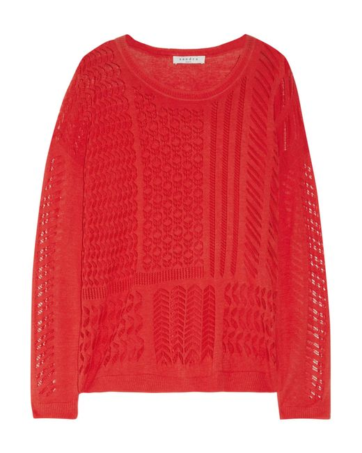 Sandro | Red Sonic Paneled Open-knit Cotton Sweater | Lyst