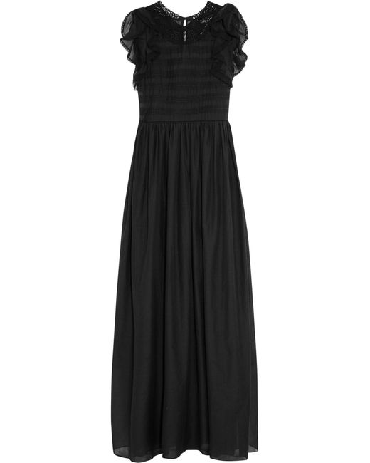Vanessa Bruno | Black Eurasia Ruffled Cotton And Silk-blend Voile Maxi Dress | Lyst