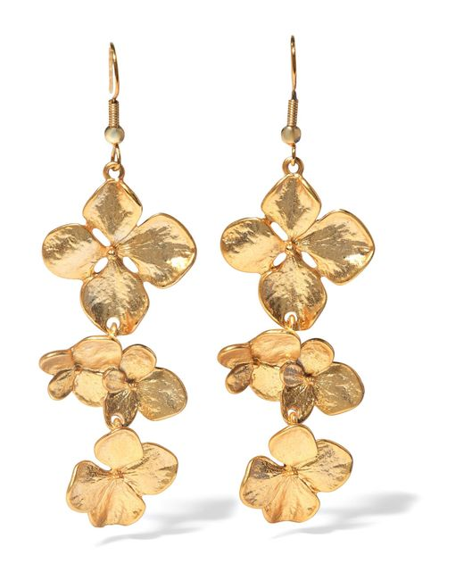 Kenneth Jay Lane | Metallic Flower Triple | Lyst