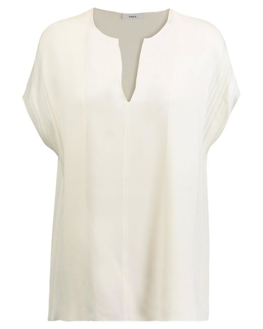 Vince | White Pintucked Silk-crepe Top | Lyst