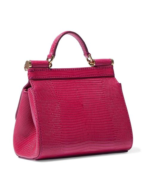 6028723ab4 ... Lyst Dolce   Gabbana - Multicolor Woman Sicily Lizard-effect Leather  Shoulder Bag Magenta ...