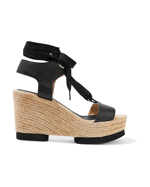 Paloma Barceló | Black Carla Lace-up Leather Wedge Sandals | Lyst