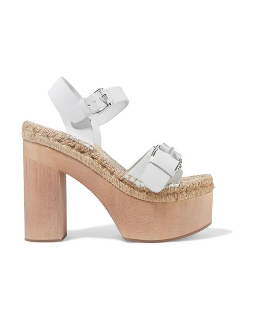 Paloma Barceló | White Lucia Buckled Leather Platform Sandals | Lyst
