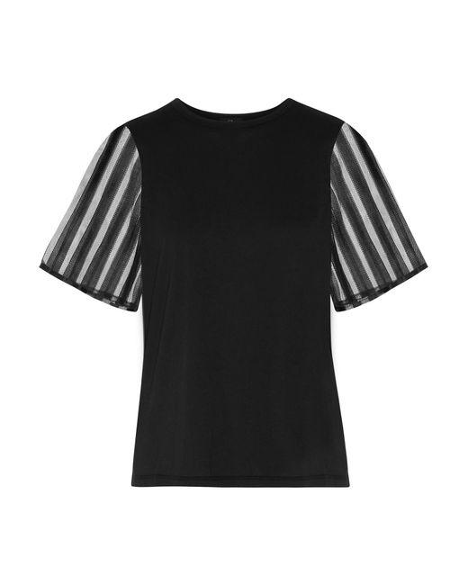 CLU | Black Tulle-paneled Cotton T-shirt | Lyst