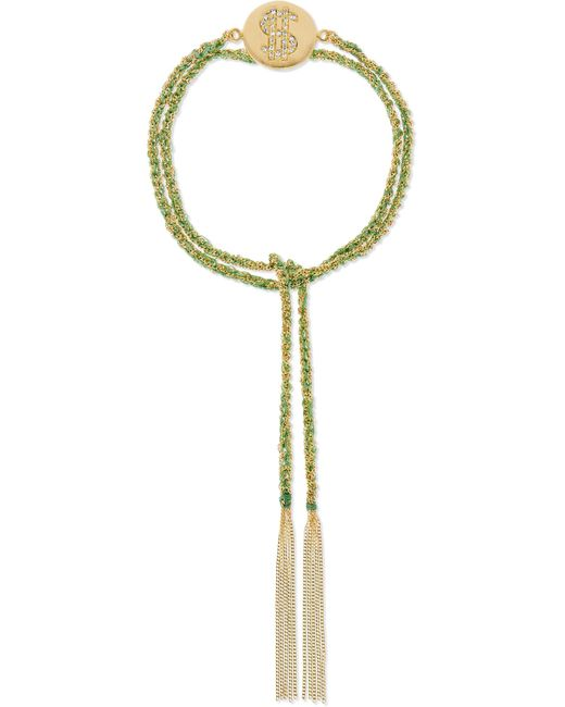 Carolina Bucci | Green Money Lucky 18-karat Gold, Diamond And Silk Bracelet | Lyst