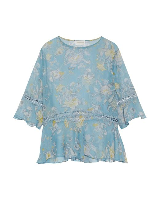 Zimmermann | Blue Lace-trimmed Printed Silk-georgette Blouse | Lyst