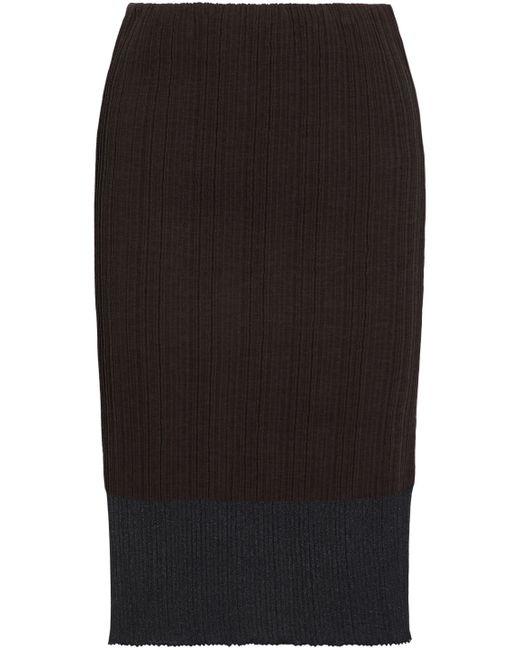 Jil Sander - Metallic Ribbed Cotton-blend Skirt Dark Brown - Lyst