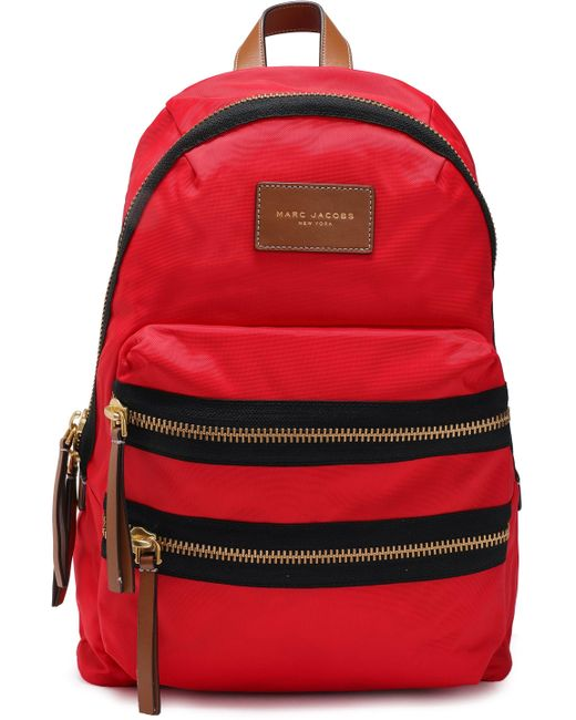 Marc Jacobs Leather-trimmed Shell Backpack Red