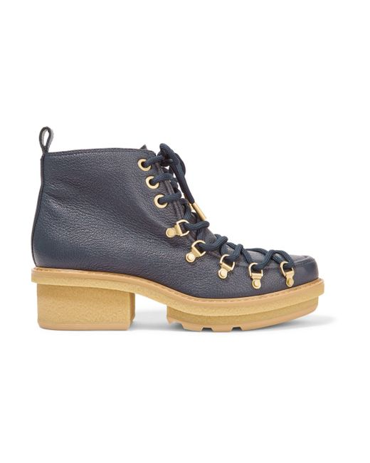 3.1 Phillip Lim - Blue Mallory Lace-up Textured-leather Ankle Boots Dark Denim - Lyst