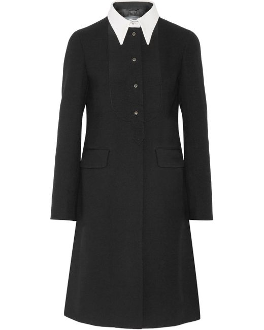 Prada | Black Two-tone Wool-crepe Peplum Coat | Lyst