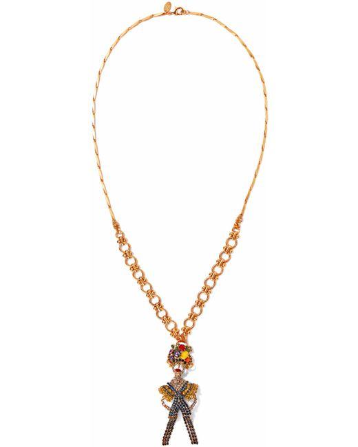 Elizabeth Cole - Metallic 24-karat Gold-plated, Swarovski Crystal, Faux Pearl And Stone Necklace - Lyst