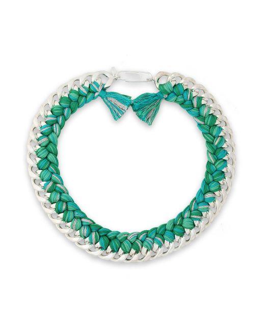 Aurelie Bidermann - Green 18-karat White Gold-plated And Cotton Braided Necklace - Lyst
