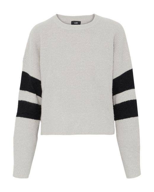 Line - Intarsia Bouclé-knit Sweater Light Gray - Lyst