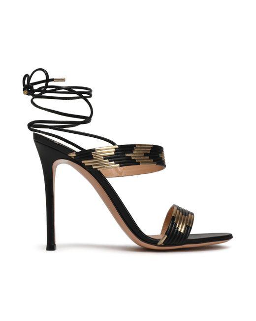 9ad468e74f2 Gianvito Rossi - Woman Suni Matte And Metallic Leather Sandals Black - Lyst  ...