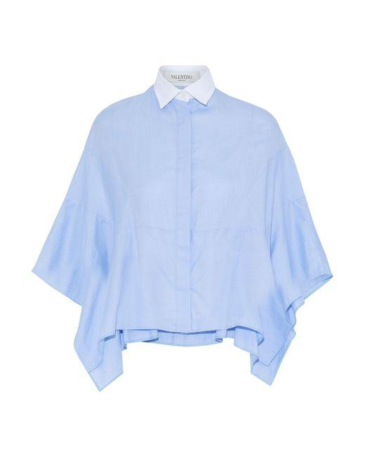 Valentino - Blue Piqué-trimmed Cape-effect Cotton-oxford Shirt - Lyst