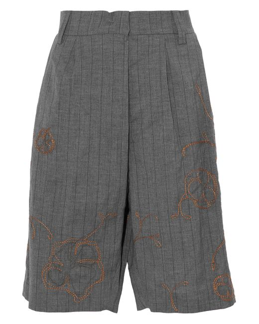 Brunello Cucinelli - Gray Embellished Striped Wool And Linen-blend Shorts - Lyst