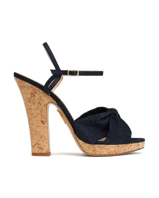 Charlotte Olympia - Blue Farrah Knotted Suede Platform Sandals - Lyst