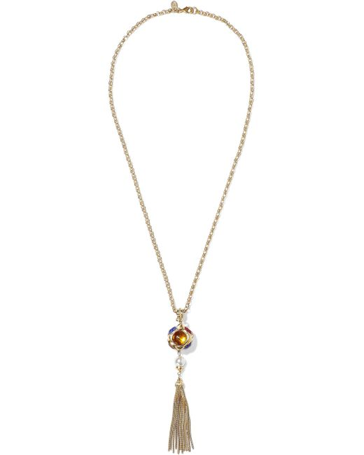Ben-Amun - Metallic Woman Gold-tone, Crystal, Faux Pearl And Tassel Necklace Gold - Lyst