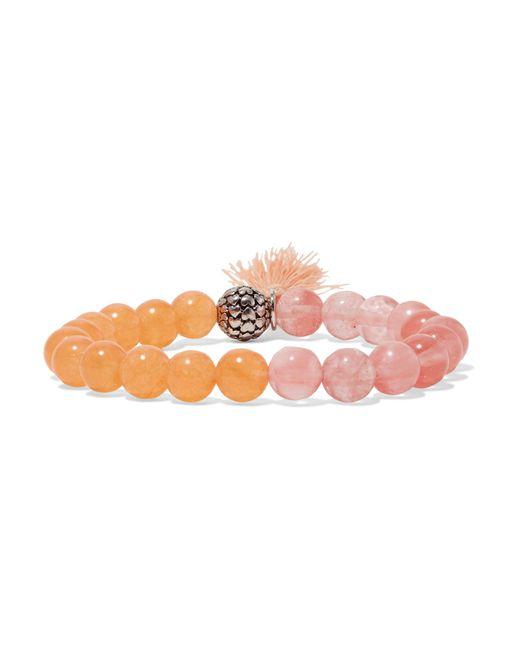 Kenneth Jay Lane | Pink Silver-tone Beaded Bracelet | Lyst