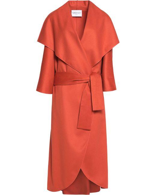 Vionnet - Woman Belted Wool-felt Coat Orange - Lyst