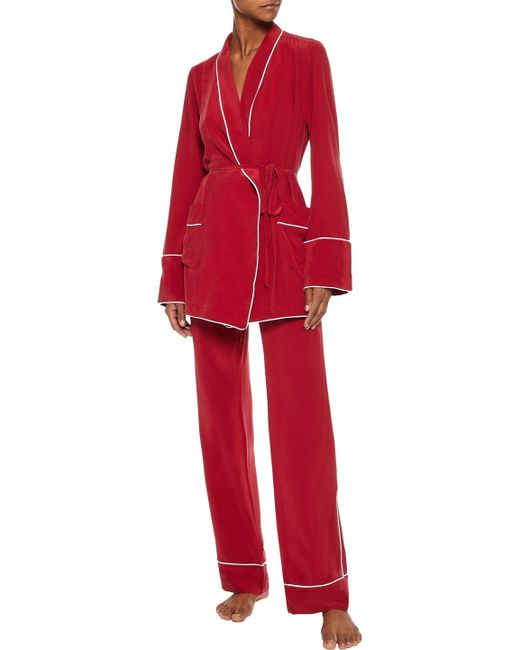... Equipment - Woman Washed-silk Pajama Set Red - Lyst ... 7400bfd1d