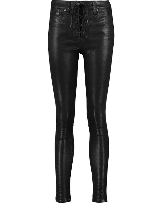 Rag & Bone - Black Lace-up Leather Skinny Pants - Lyst