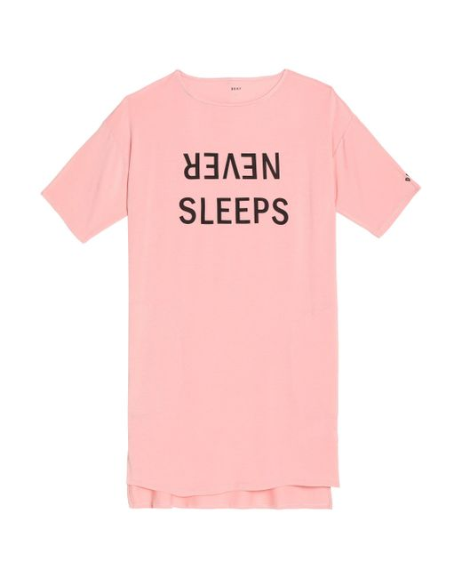 DKNY - Pink Printed Modal-blend Jersey Nightshirt - Lyst