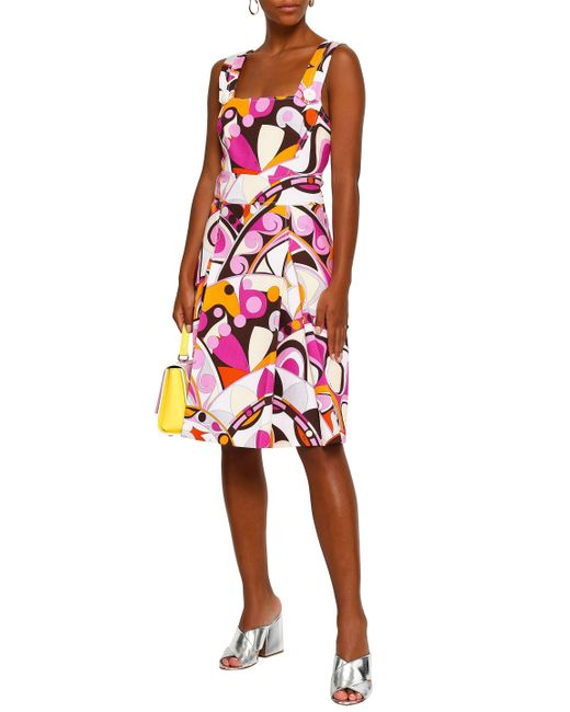 ecbaa9668f1dd ... Emilio Pucci - Multicolor Woman Button-detailed Printed Cotton-cloqué  Dress Fuchsia - Lyst ...