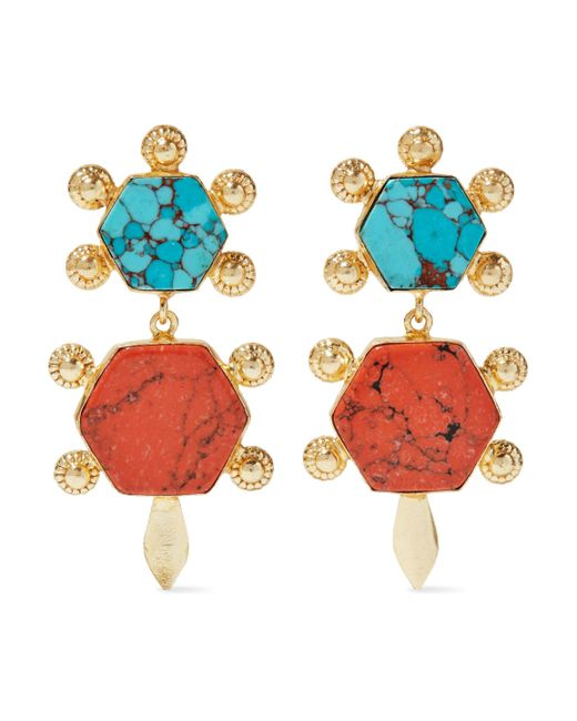 Kenneth Jay Lane - Metallic Gold-tone Stone Earrings - Lyst