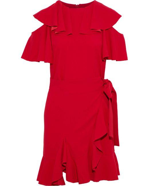 Goen.J - Red Cold-shoulder Wrap-effect Ruffled Crepe Dress - Lyst