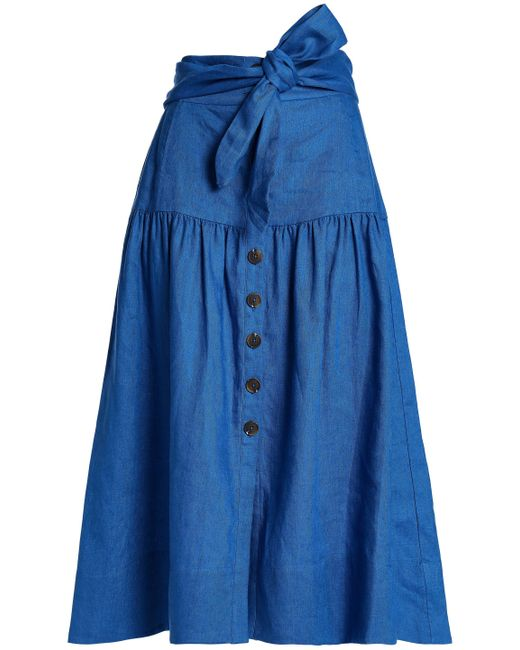 Sea - Blue Belted Gathered Linen Midi Skirt - Lyst