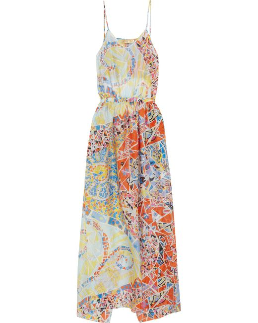 Emilio Pucci | Blue Printed Hammered-silk Dress | Lyst