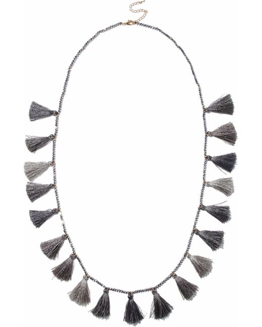 Kenneth Jay Lane - Gray Tasseled Beaded Necklace - Lyst