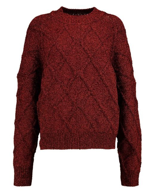 Isabel Marant - Red Metallic Stretch-knit Sweater - Lyst