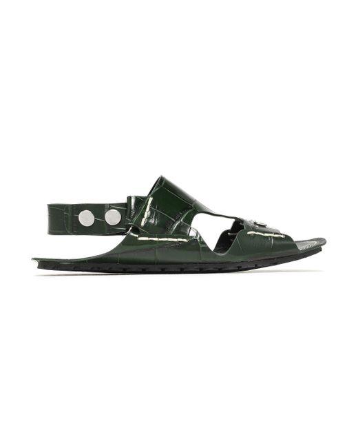 Joseph - Green Cutout Croc-effect Leather Slingback Sandals - Lyst
