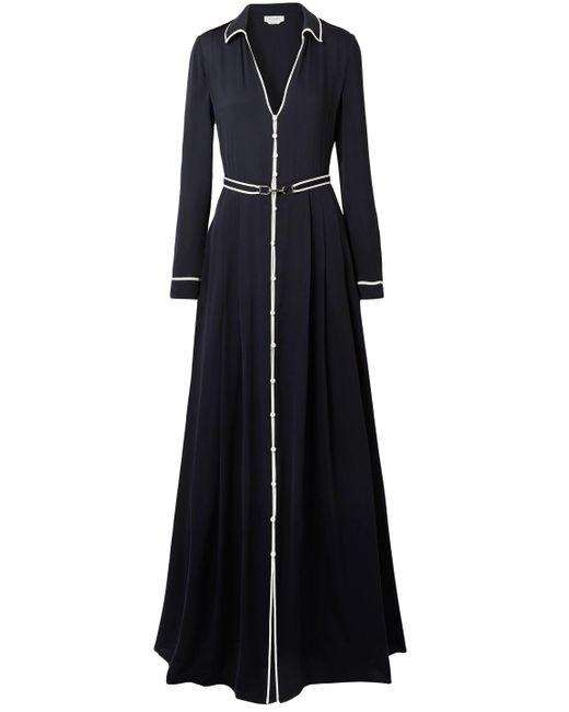 Gabriela Hearst - Woman Lempicka Pleated Silk-twill Maxi Dress Midnight Blue - Lyst