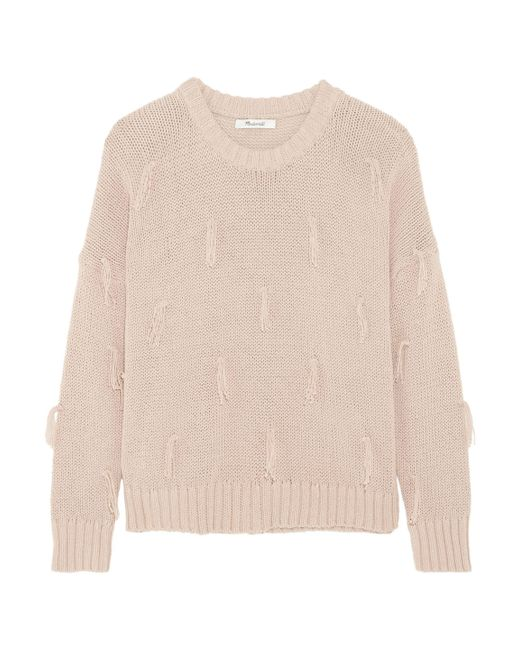 Madewell | Pink Tasseled Cotton Sweater Antique Rose | Lyst