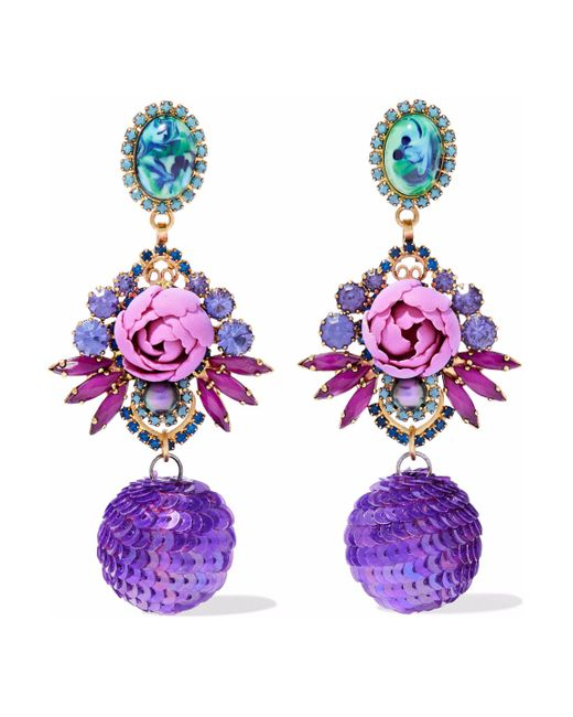 Elizabeth Cole - Purple Gold-tone, Crystal, Stone And Sequin Earrings - Lyst