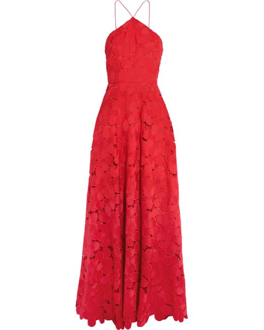 Badgley Mischka | Red Floral-lace Gown | Lyst