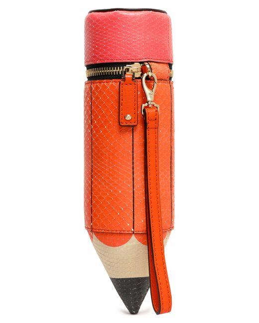 Anya Hindmarch Anya Hindmarch Femme Orange Taille Embrayage Python Imprimé Étui À Crayons Visiter Le Nouveau F2Uin33vmi
