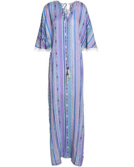 Matthew Williamson - Purple Lace-trimmed Printed Silk Coverup - Lyst