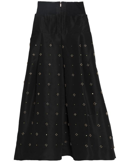 Tibi - Black Embellished Silk-faille Maxi Skirt - Lyst