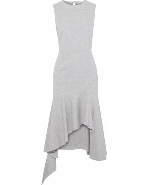Goen.J - Gray Asymmetric Mélange Cotton-jersey Midi Dress - Lyst