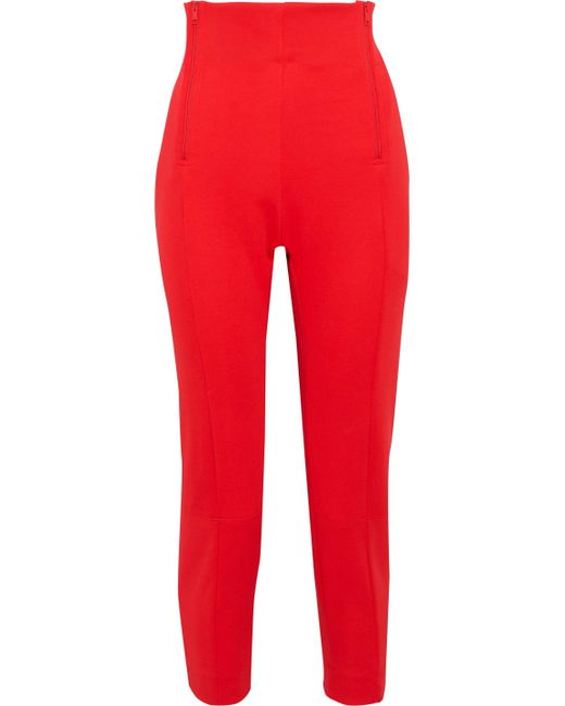 Y-3 - Red + Adidas Cropped Zip-detailed Jersey Track Pants - Lyst